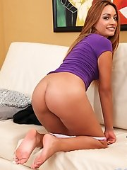 Naughty girl next door Natalia Robles fucks her pussy with a purple toy